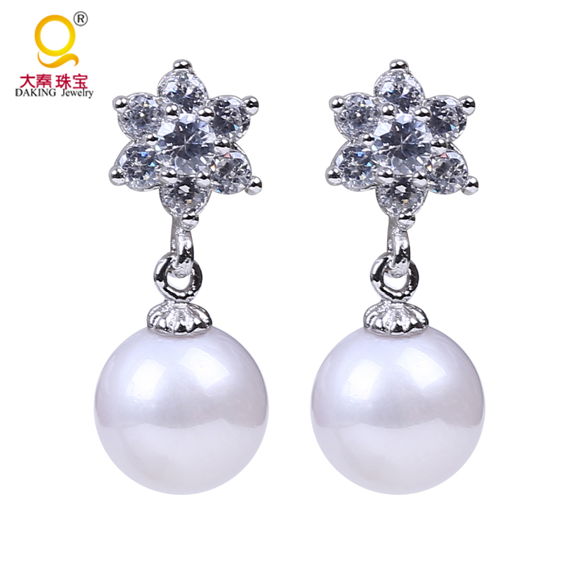 Perfect round 8.5 9mm freshwater pearl earring 925 silver smooth luster 100% real freshwater pearl for bridal earring jewelry