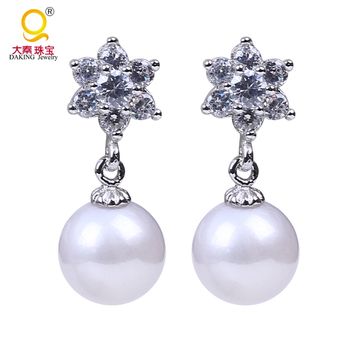 Perfect round 8.5-9mm freshwater pearl earring 925 silver smooth luster 100% real freshwater pearl for bridal earring jewelry