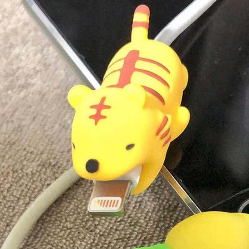Kreskówka słodkie zwierzę ukąszenia kabel do ładowarki usb Protector dla androida Iphone 7 8 Plus Macbook Samsung Huawei uniwersalny telefon Mordida