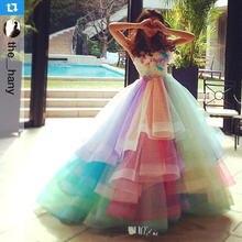 Красное Пышное Бальное Платье с 3d цветочной аппликацией платья