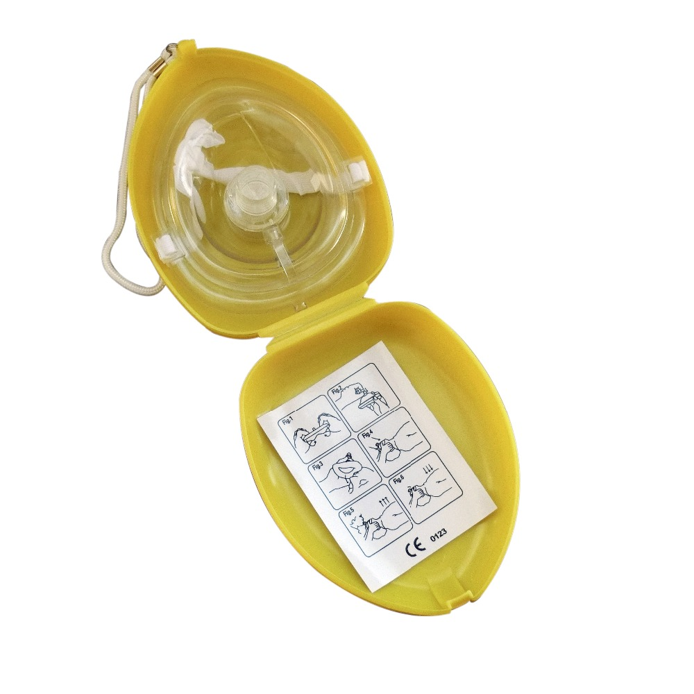 60pcs/Pack CPR Resuscitator Rescue Masks Mouth To Mouth With One-way Valve For First Aid Training Oxygen Inlet In Yellow Box