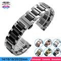 Universal 14mm 16mm 18mm 20mm 22mm correa de reloj de cerámica butterfly hebilla correa mujeres reloj del hombre pulseras para longines seiko + herramienta