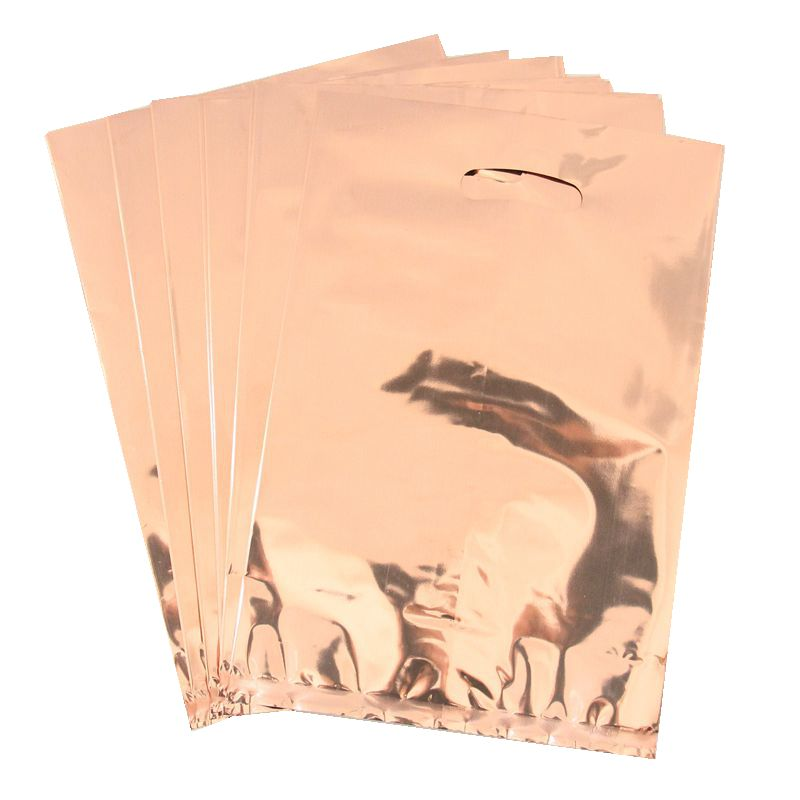 10pcs/lot Rose Gold Color Metallic Foil Gift Bags Fluorescence Color Theme Plastic Candy Bags Rose Gold Theme Loot Bags