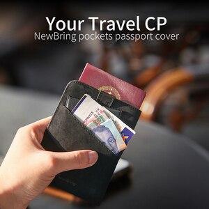 Image 2 - NewBring Funda de cuero para pasaporte para hombre y mujer, Cartera de viaje para tarjeta de crédito, talonario, titular de la identificación, Clip para billetes, monedero, porta pasaporte