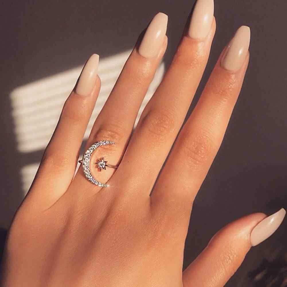 Female Personality Fashion Rhinestones Inlaid Crescent Star Shape Opening  Resizable Adjustable Knuckle Finger Ring Jewelry Gift