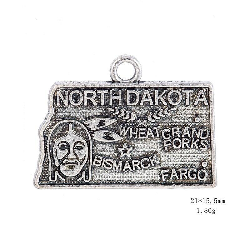 50PCS/Lots Double side Silver North Dakota State Map Dangle Charms Jewelry 2Style DIY Fit Bracelet Necklace