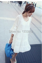 Floral Embroidery White Lace Casual Dress