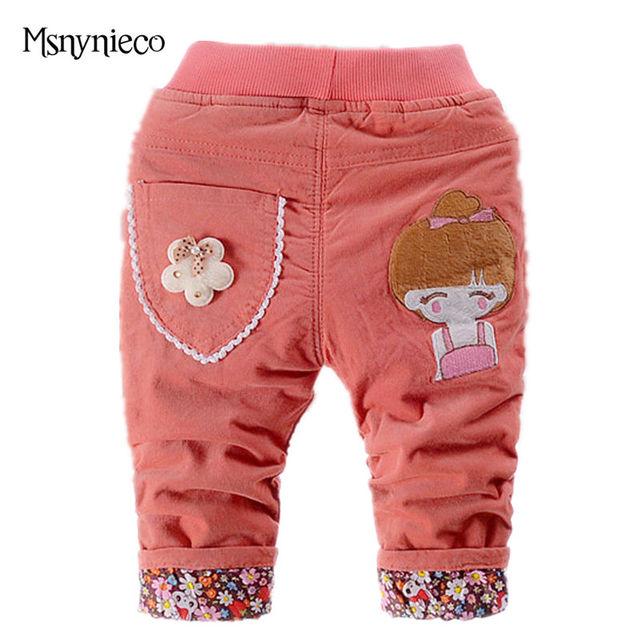 Calças do bebê Do Bebê Leggings Meninas 2016 Desenhos Animados Outono Inverno Quente Grossa Calça Bebê Recém-nascido Menina Veste Roupas para Crianças