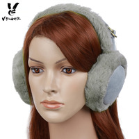 Vbiger Suede Ear Muffs Faux Fur Ear Warmer Winter Warm Earmuffs Grey