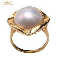 JYX 2019 специальное кольцо с натуральным морским жемчугом 18 К золото 14 мм полукруглые белые кольца с морскими жемчужинами женский подарок Mabe
