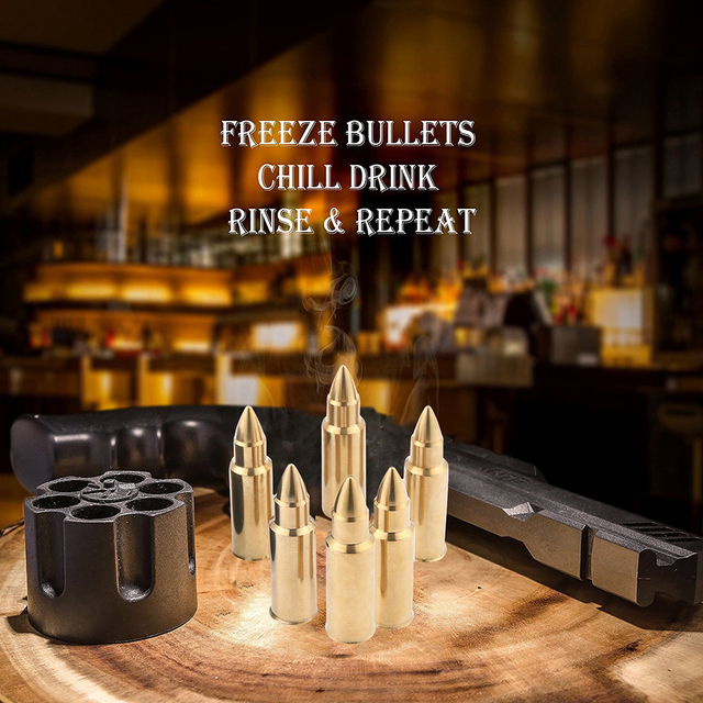 Stainless Steel Bullet Shaped Whiskey Stones Set with Base Chills Drinks Stones Rocks Cubes for Chilling Vodka, Whiskey, Scotch 3
