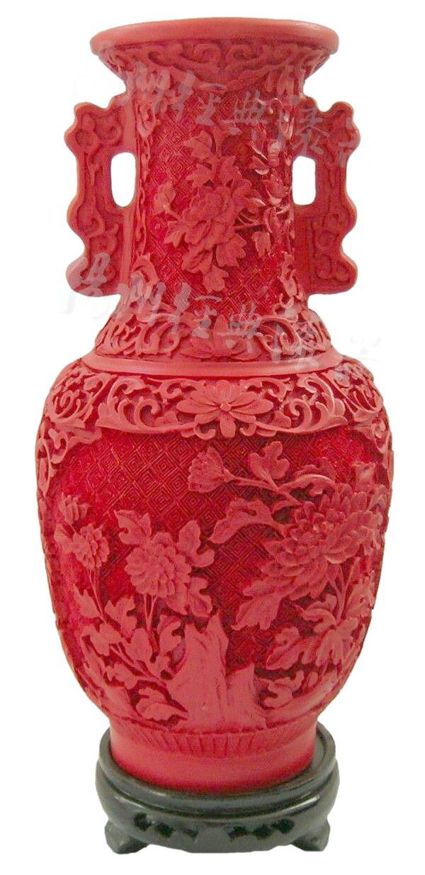 10 polegada/Requintado Clássico Chinês Tradicional Tecnologia de Laca Vermelha Flor Auspicioso Vaso No.1 9