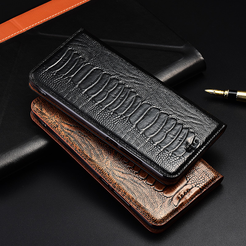 Luxury Ostrich Foot Grain Stand Flip Case For Lenovo Z5 Z5s Pro Cover Genuine Cowhide Leather Phone Case