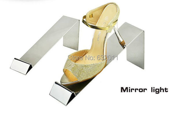 Mirror surface stainless steel shoes holder support keeper metal shoe holder showing display rack stand