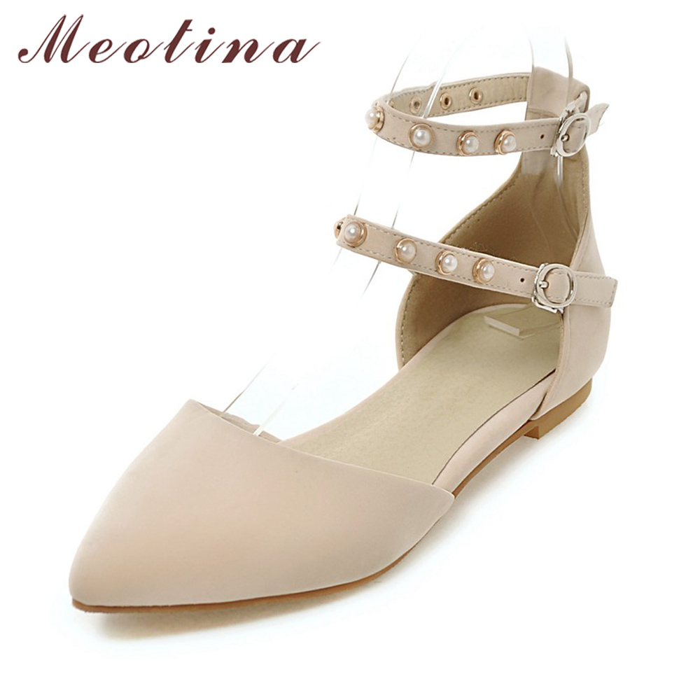 Meotina Women Flat Shoes Ankle Strap Flats Pointed Toe Ballet Shoes Two Piece Ladies Flats Beading Causal Shoes Beige Size 34-43 pu pointed toe flats with eyelet strap