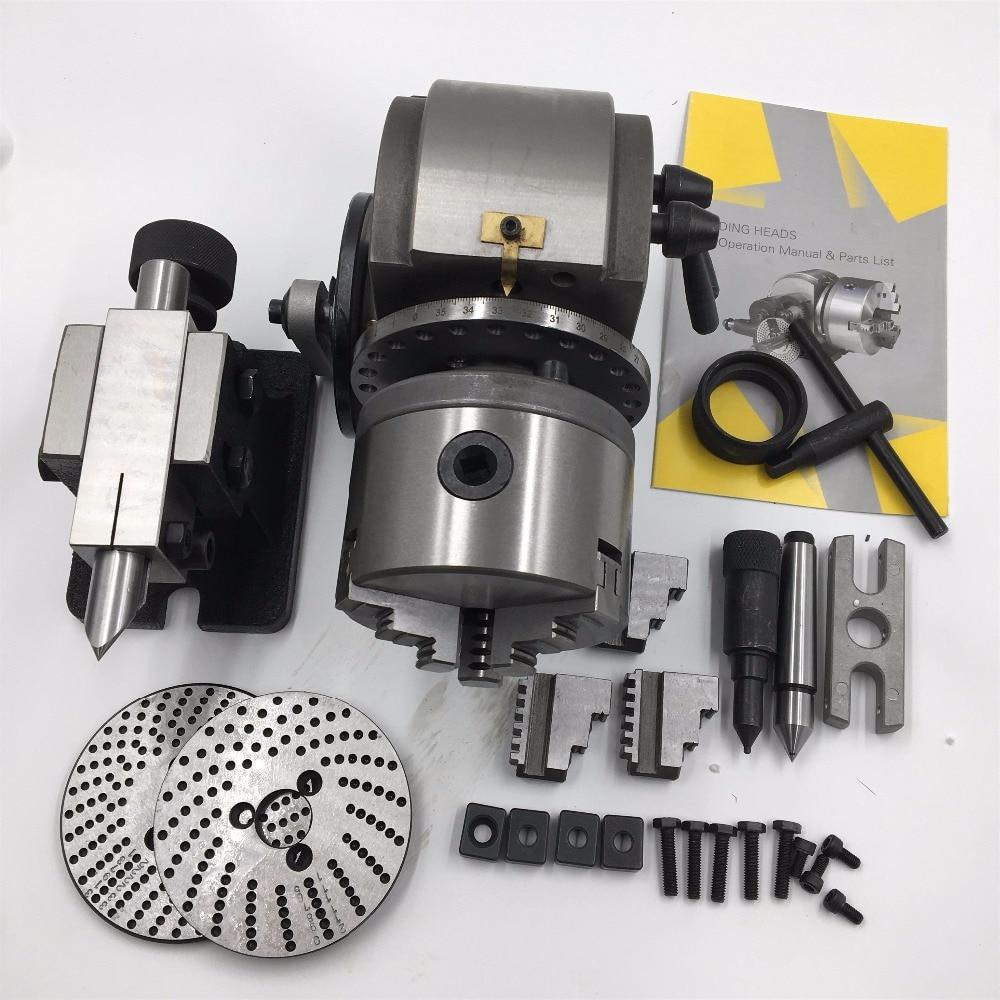 BS 0 Precision Dividing Head Tailstock 100MM 3 Jaw Lathe Chuck & Dividing Plates CNC Milling Universal Dividing Head Tail Stock