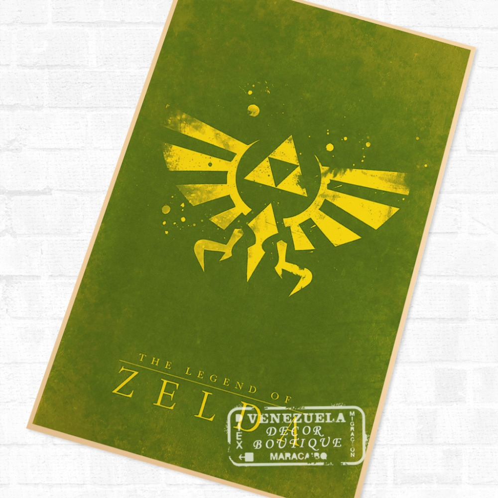 US $3 98 |Triforce Signs the Legend of Zelda Video Game Poster Retro Canvas  Painting DIY Wall Stickers Art Home Bar Posters Decor Gift-in Wall