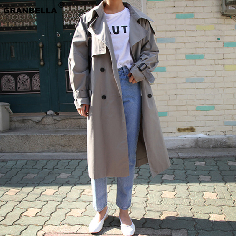 Top sales russian Style Grey Khaki Color Double-breasted   Trench   coats oversized casual Elegant Women Mujer windbreaker raincoats