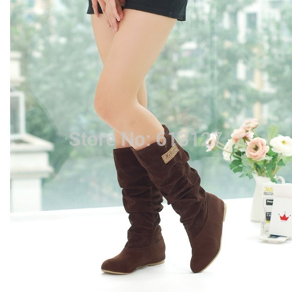 winter style round toe flat flock fashion knee-high heel boots women casual botas femiinas suede snow boots fro womenBWB715B enmayer green vintage knight boots for women new big size round toe flock knee high boots square heel fashion winter motorcycle