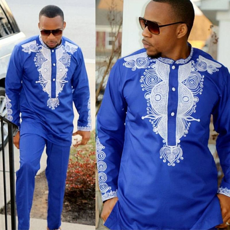 Dashiki Mens Top Pant Set 2 Pieces Outfit Set African Men Clothes 2019 Riche African Clothing For Men Dashiki Shirt With Trouser(China)