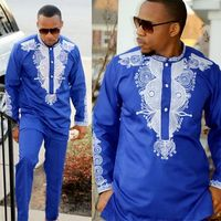 Dashiki mens top pant set 2 pieces outfit set African men clothes 2019 riche african clothing for men dashiki shirt with trouser