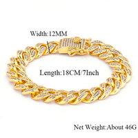 7 9 12mm Wide Miami Curb Cuban Chain Link Bracelet Gold Silver Mens Hip Hop Bling Iced Out CZ Bracelets Rapper Jewelry Gift