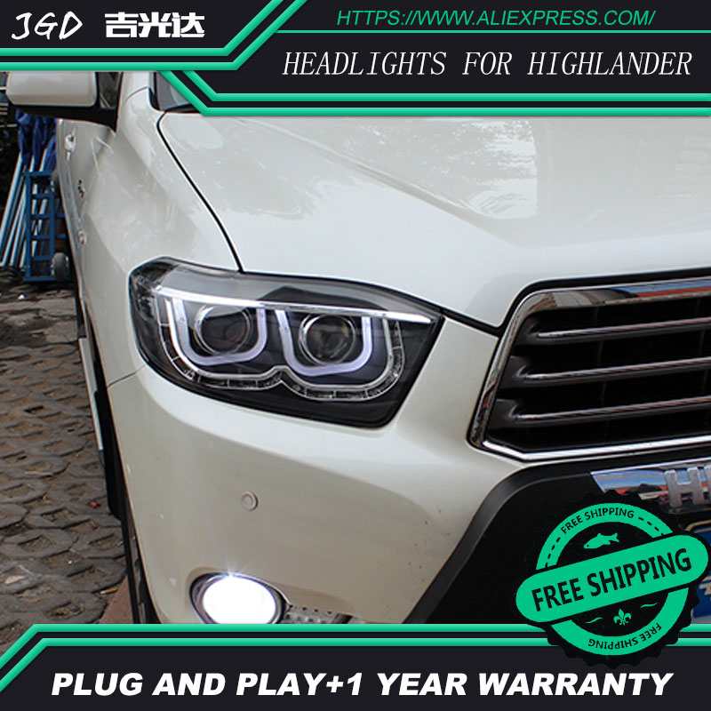 Car Styling for Toyota Highlander Headlights 2009-2011 Highlander LED Headlight DRL Lens Double Beam H7 HID Xenon bi xenon lens stainless steel strips for toyota highlander 2011 2012 2013 car styling full window trim decoration oem 16 8