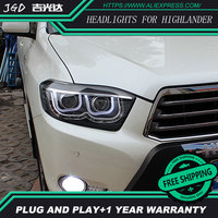 Car Styling For Toyota Highlander Headlights 2009 2011 Highlander LED Headlight DRL Lens Double Beam H7