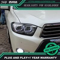 Car Styling for Toyota Highlander Headlights 2009-2011 Highlander LED Headlight DRL Lens Double Beam H7 HID Xenon bi xenon lens