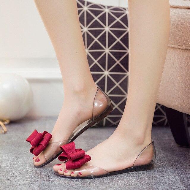 ebd852cdb0e6 Hot Sales Summer Women Sandals PU Jelly Shoes Transparent Jelly Sandals  Brand Clear Flats Shoes Women Sandale Plateforme Femme