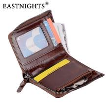 купить EASTNIGHTS Genuine Leather Men Wallet Short Small Zipper Male Wallets Coin Purse Western New pocket wallet for man по цене 1630.89 рублей