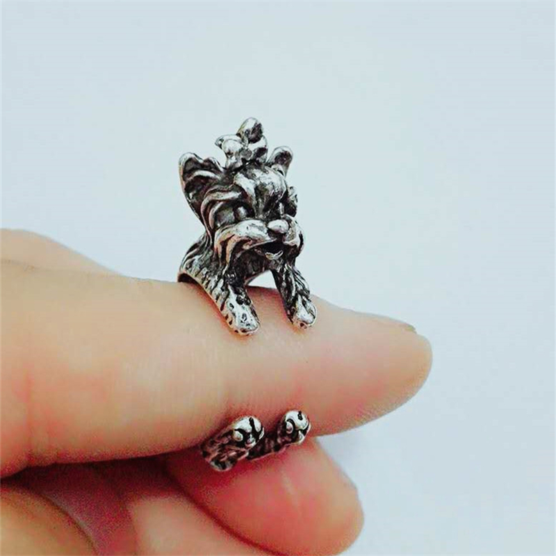 RONGQING Boho hippie Vintage Yorkshire Wrap Ring Punk Handmade 3D Dog Ring Adjustable Men Jewelry