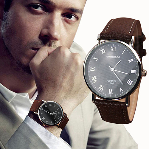 Men's Roman Numerals Faux Leather Band Quartz Analog Business Wrist Watch 2MZH 6JKB rushed real new with tags 2pcs set 2016 fashion business stainless steel roman numerals quartz leather band lovers watch