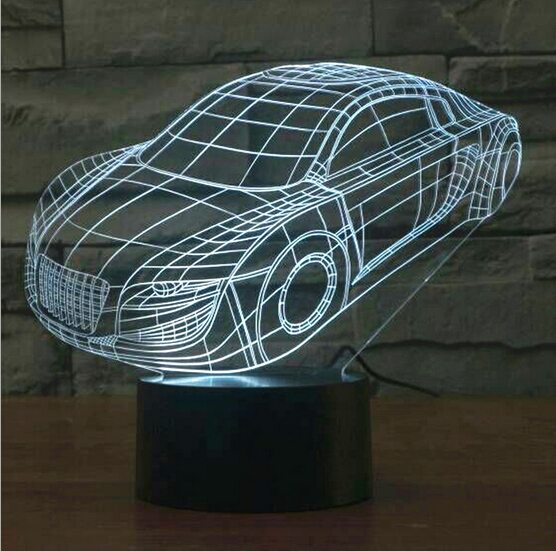 Hot NEW 7color changing 3D Bulbing Light sports car visual illusion LED lamp creative action figure toy Christmas gift