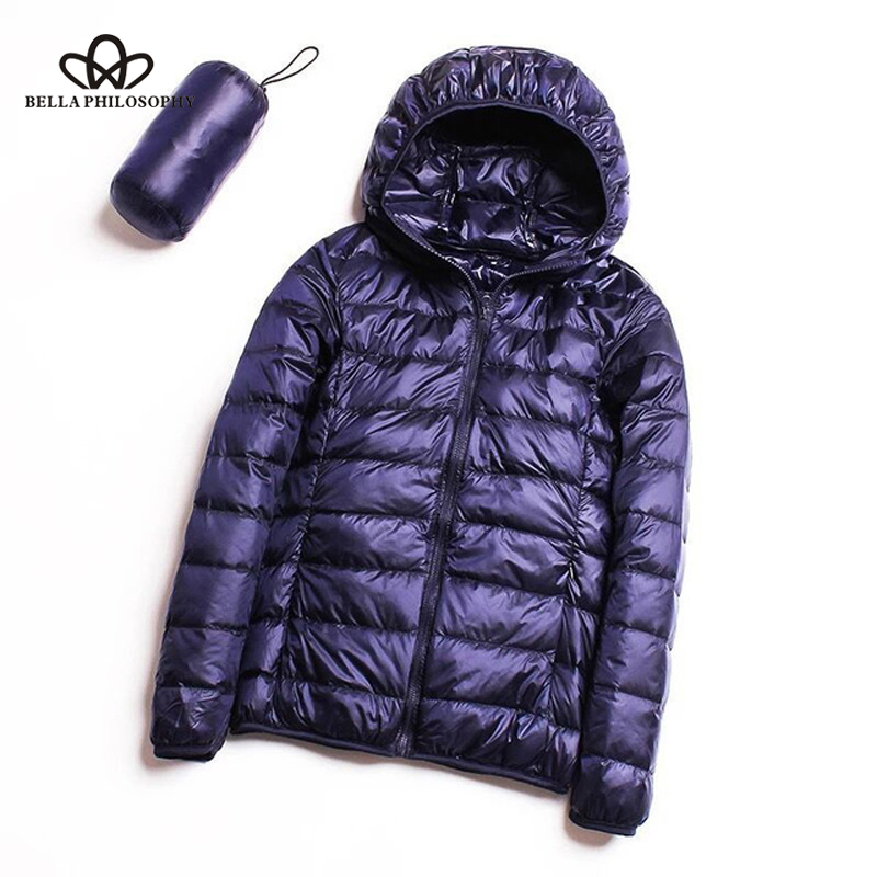 Bella Philosophy   Down   jacket women 95% duck   down     coat   Ultra Light warm Female Solid Portable stand collar   down   jacket winter