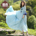 Free Shipping 2017 Fashion Long Maxi Boshow Summer Women Half Ruffles Sleeve Bohemian Beach Dresses For Women S-L Flower Print