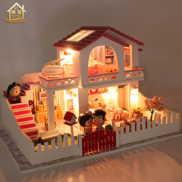 My House DIY Small Sweetheart Hand Assembled Large Building Model Villa Toys Send Birthday