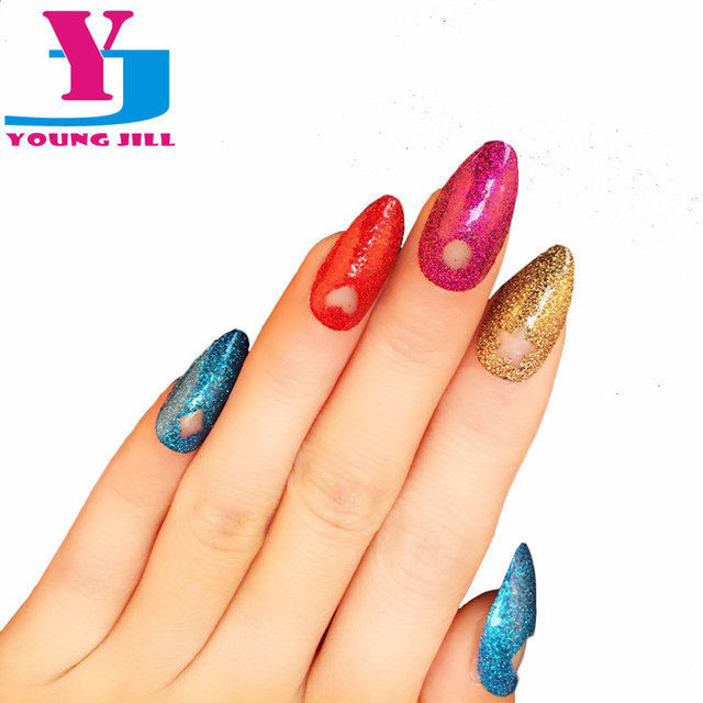 2016 Long Nails Tips New Fashion Glitter High Light Multiple Color ...