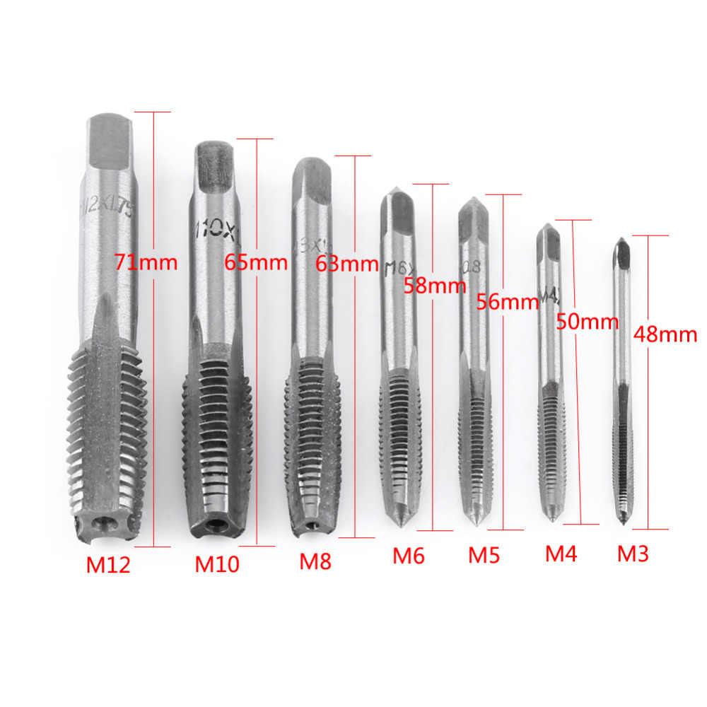 7 Pcs/Lot acier métrique filetage taraud outil spirale Point droit cannelé vis robinets outil main robinet perceuse ensemble M3-M12 offre spéciale