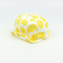 Lemon Print Fashion Hats Caps Cute Baby Kids Cotton Girls Summer Hat with Flanging Hat for 6-18 months