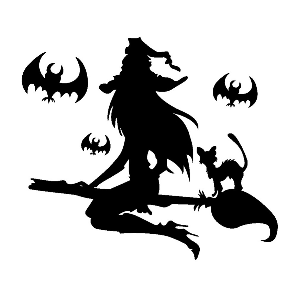Creative DIY Halloween PVC Wall Sticker Home Decor Removable Waterproof Vinyl Decal Christmas Bat Witch Halloween Wall Stickers
