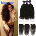 8A Malaysian Kinky Curly With Closure 3Bundles 100 Human Hair Queen Hair Products Malaysian Kinky Curly Virgin Hair With Closure