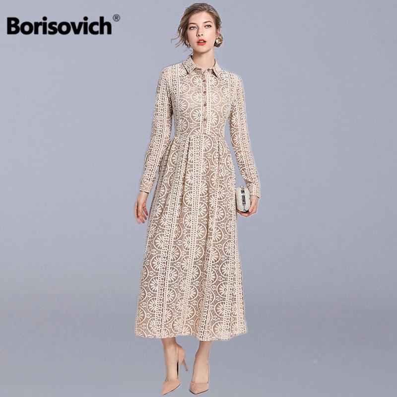 Borisovich femmes dentelle longue robe nouveau 2019 printemps mode angleterre Style col rabattu élégant a-ligne dames robes de fête N699