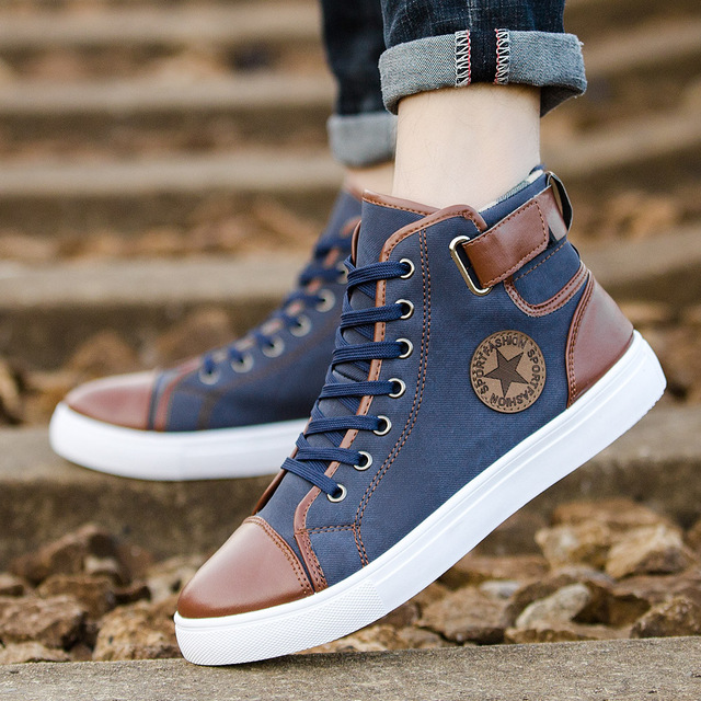 5abafe429 GOXPACER 2018 Men Shoes Brief Casual Shoes Lace-up Flat Heel All Match Shoes  Fashion Men Stars Casual High-Top Metal Plus Size