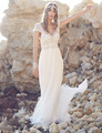 Sexy Backless Chiffon Beach Wedding Dresses Short Sleeves Lace Boho Wedding Gowns Pearls Crystal Bridal Gown Vestido De Noiva W1