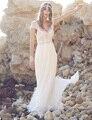 Sexy Backless Chiffon praia vestidos De casamento mangas Boho vestidos De casamento pérolas De cristal Vestido De Noiva Vestido De Noiva W1