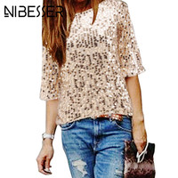 NIBESSER Sexy Off Shoulder Sequin T Shirt Women 2018 Summer Party Streetwear Casual Loose Ladies Tee