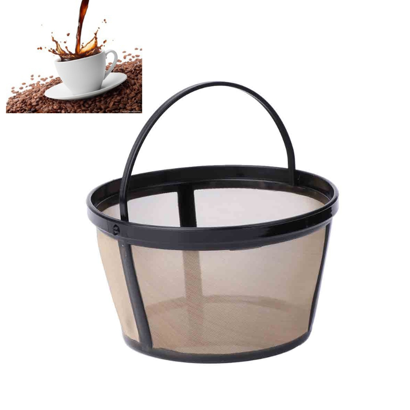 Top Quality New Reusable 10-12 Cup Coffee Filter Basket-style Permanent Metal Mesh Tool-BPA Free