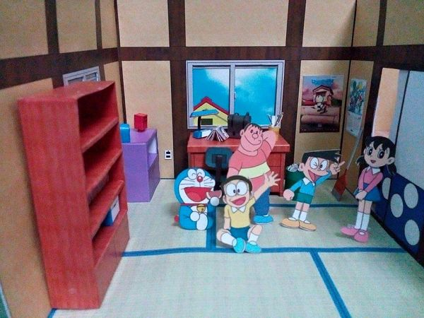 3d Paper Model Doraemon Nobita Bedroom Papercraft Educational 3d Puzzle Diy Toy Birthday Gift For Children Puzzles Aliexpress
