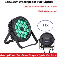 12 Units Factory Direct Sales 18X10W RGBW 4IN1 luce della lavata di Lusso Controller DMX Led Flat Par Luci dj IP65 Outdoor Use